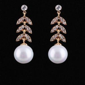 Gold-tone pearl pendant leaf shape  drop earrings